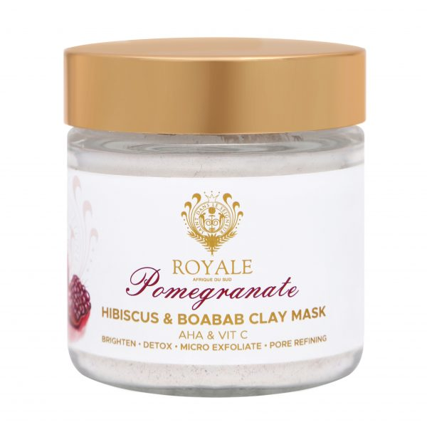 Pomegranate Hibiscus and Boabab Clay Mask Online - Natural Beauty Products - AHA and Vitamin C - Brighten - Detox - Pore Refining - Micro Exfoliate - Cape Town - Royale Afrique De Sud